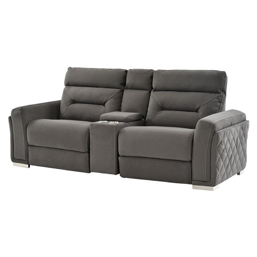 Kim Gray Power Motion Sofa W/Console Main Image, 1 Of 11 Images.