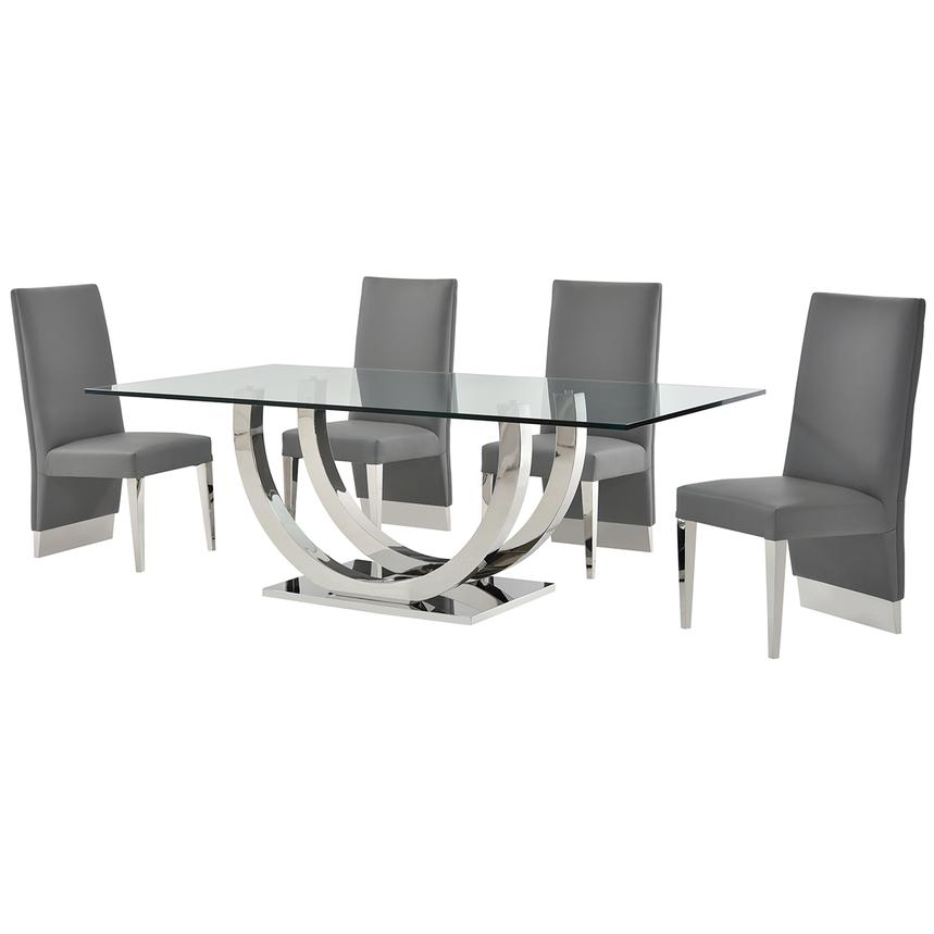 Ulysis Gray 5-Piece Formal Dining Set  alternate image, 2 of 11 images.