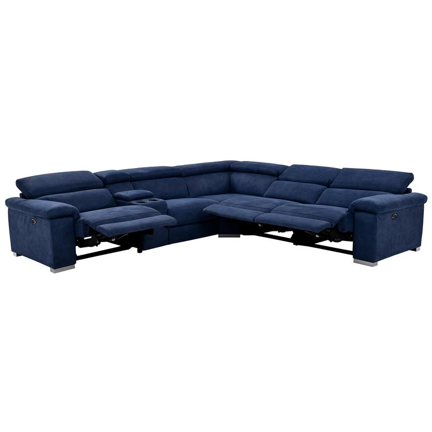 Kathan Blue Power Motion Sofa W Right Left Recliners El Dorado