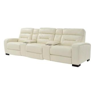Rochester Cream Home Theater Leather Seating