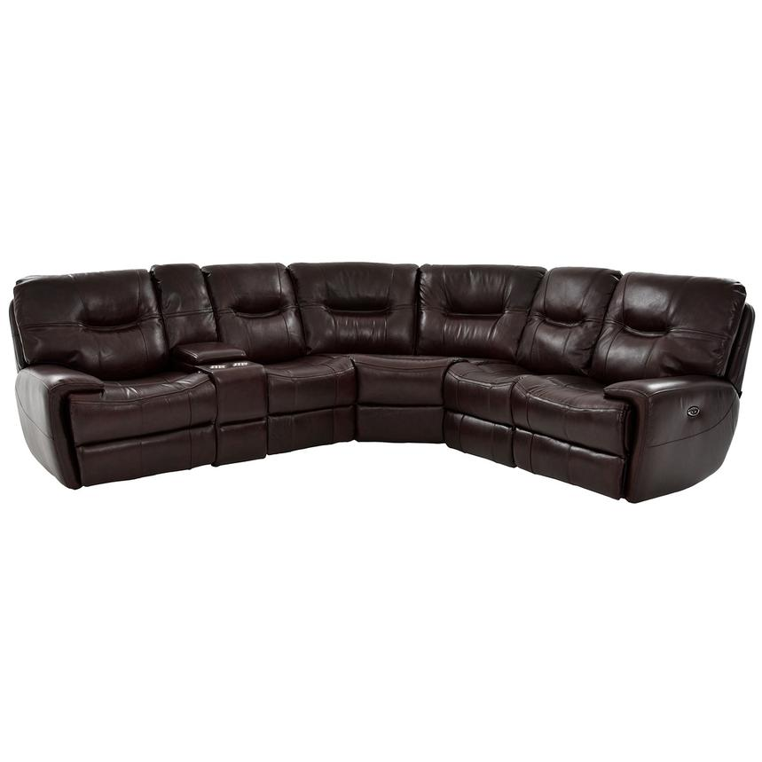 Houston Brown Power Motion Leather Sofa W/Console Main Image, 1 Of 10 Images