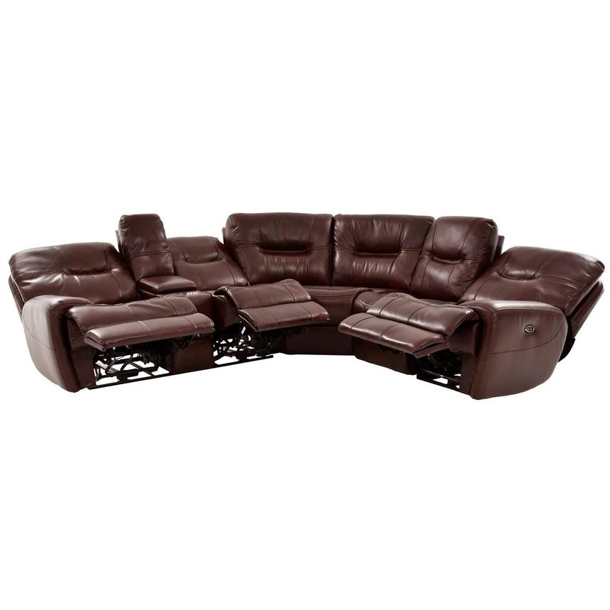 Houston Brown Power Motion Leather Sofa w/Console  alternate image, 2 of 9 images.