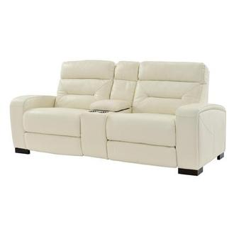 Rochester Cream Power Motion Leather Sofa w/Console