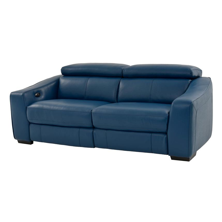 James Blue Power Motion Recliner Leather Sofa Main Image 1 Of 10 Images