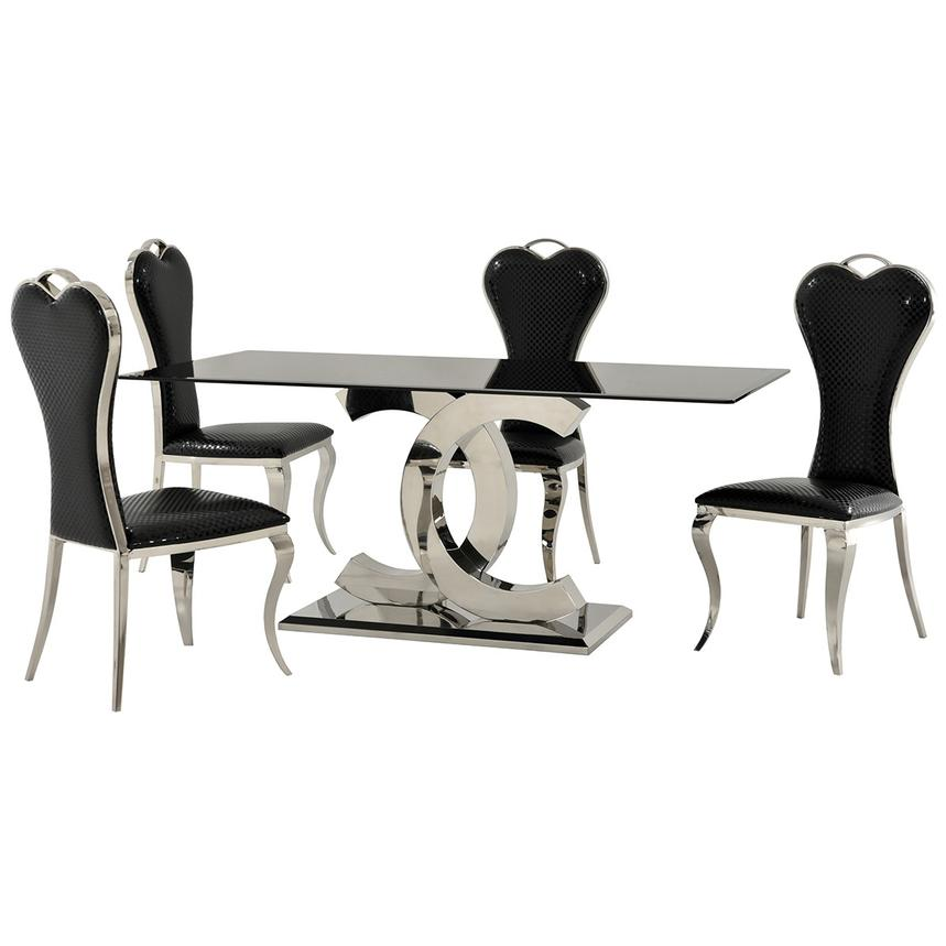 Otti Black 5-Piece Formal Dining Set  main image, 1 of 11 images.
