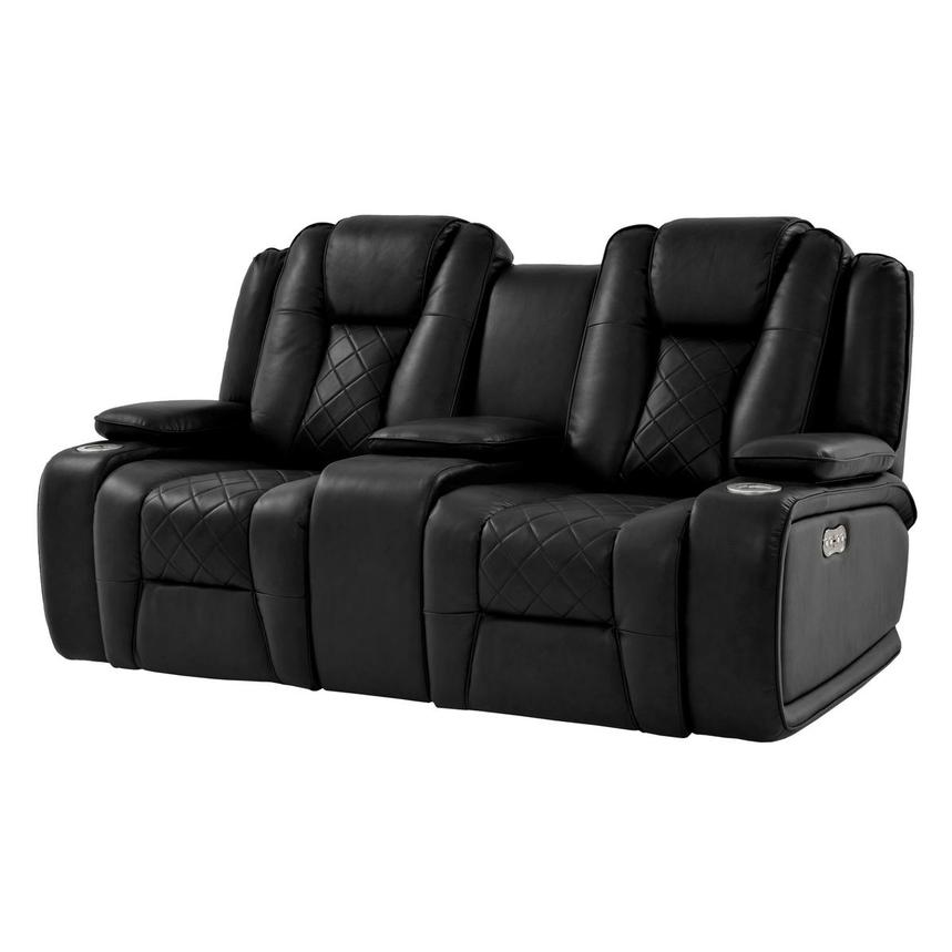 Chanel Black Power Motion Sofa w/Console  main image, 1 of 13 images.