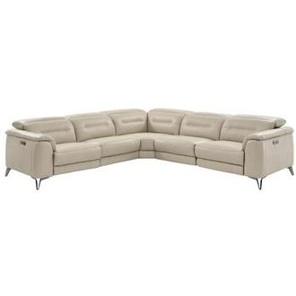 Anabel Cream Motion Leather Sofa W Right Left Recliners