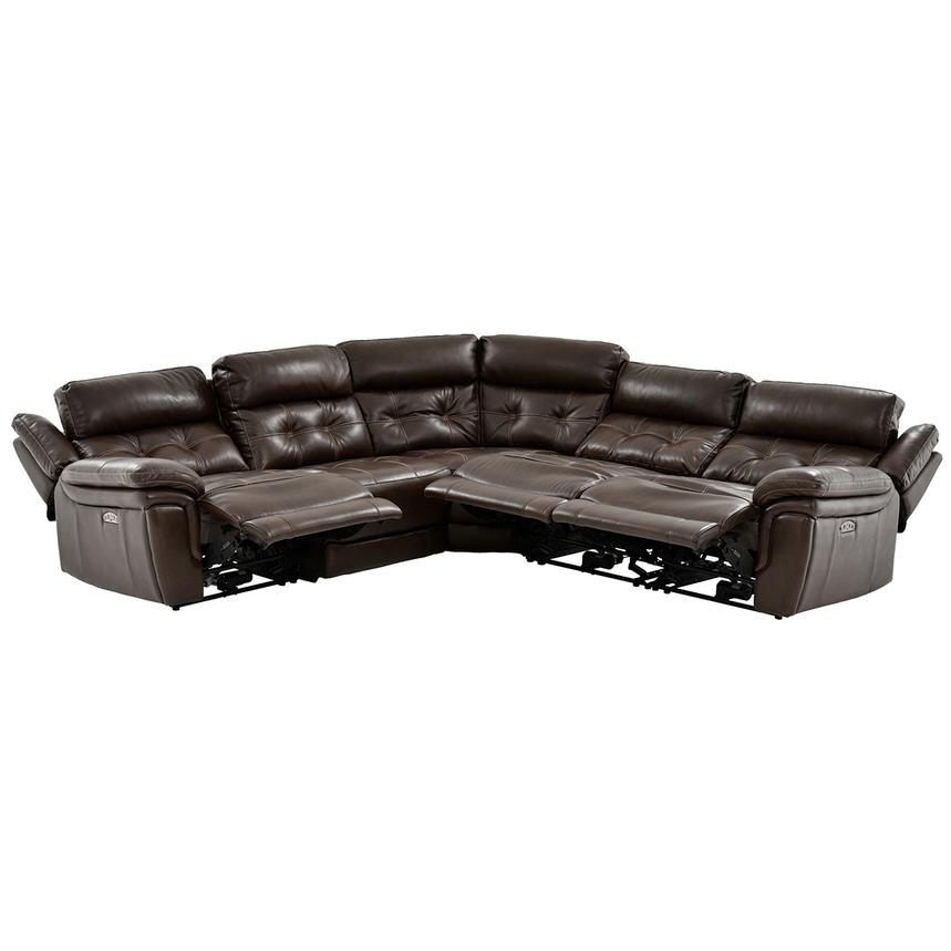 Stallion Brown Power Motion Leather Sofa w/Right & Left Recliners  alternate image, 2 of 9 images.