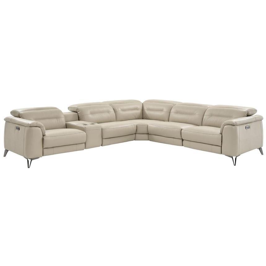 Anabel Cream Power Motion Leather Sofa W/Right U0026 Left Recliners