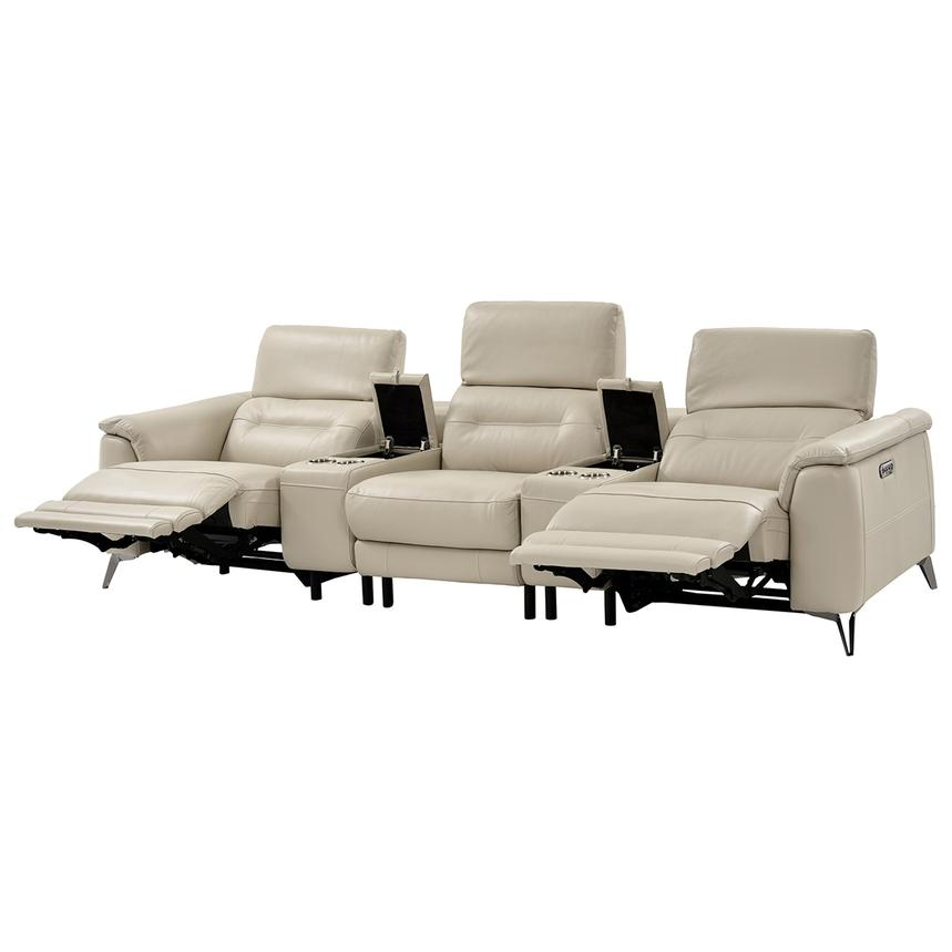 Anabel Cream Home Theater Leather Seating  alternate image, 2 of 9 images.