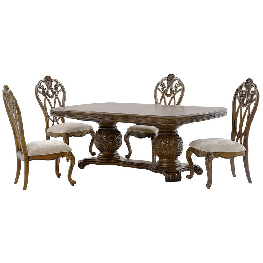 Edens Paradise 5 Piece Formal Dining Set Main Image 1 Of 15 Images