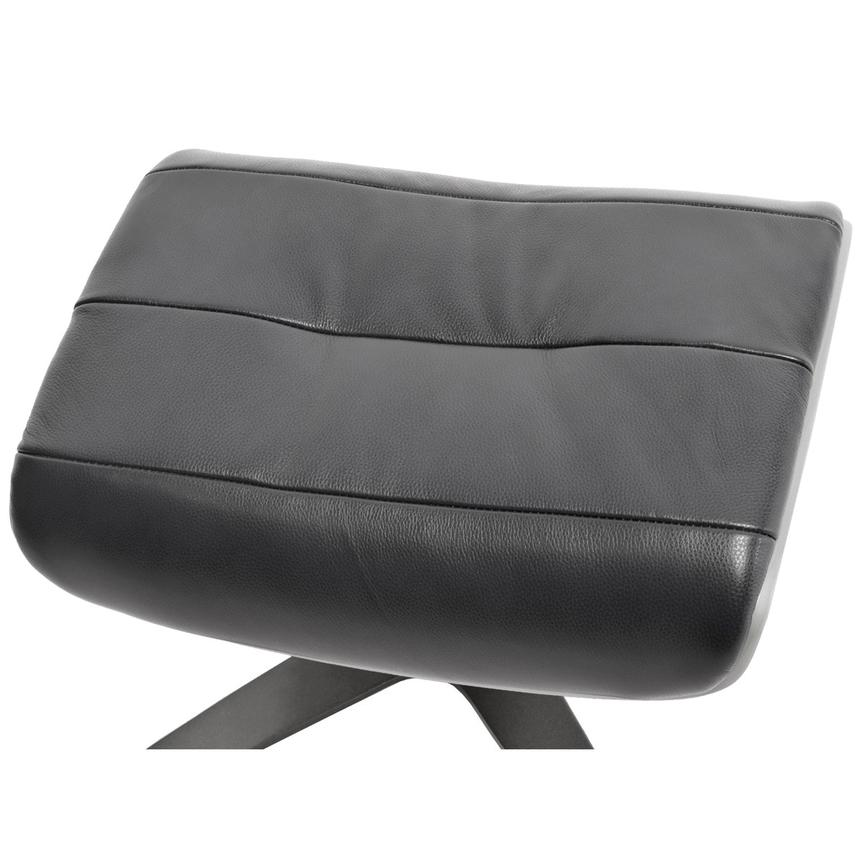 Enzo Black Leather Ottoman  alternate image, 2 of 4 images.