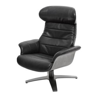 Enzo Black Leather Swivel Chair