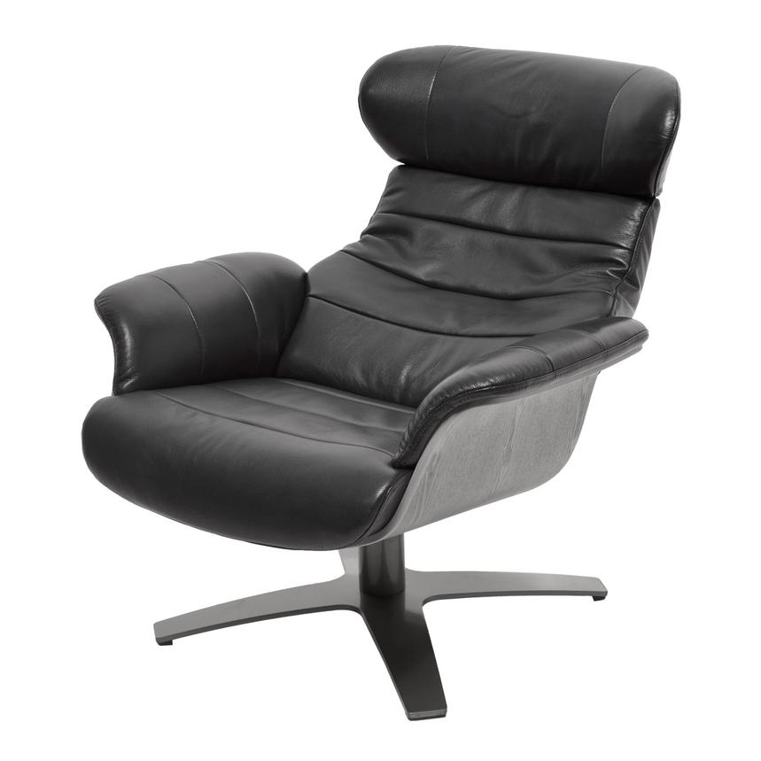 Enzo Black Leather Swivel Chair Alternate Image, 2 Of 10 Images.