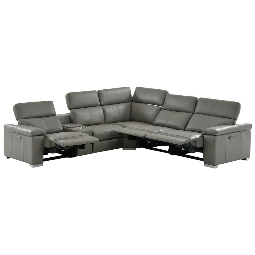 Charlie Gray Power Motion Leather Sofa W Right Amp Left