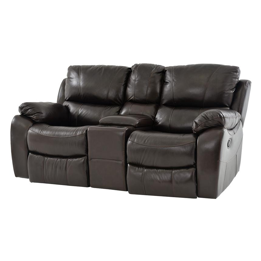 Mack Brown Recliner Leather Sofa w/Console | El Dorado Furniture