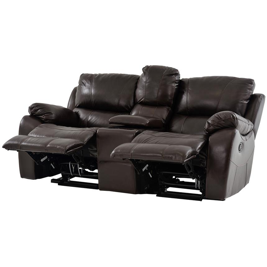 Mack Brown Recliner Leather Sofa w/Console  alternate image, 2 of 7 images.