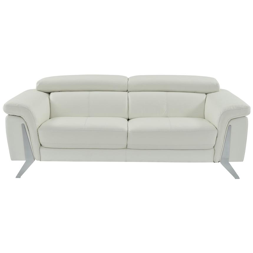 Odette White Leather Sofa  alternate image, 2 of 6 images.