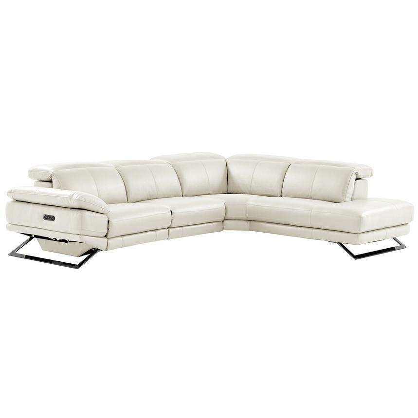 Toronto White Power Motion Leather Sofa w/Right Chaise  main image, 1 of 11 images.