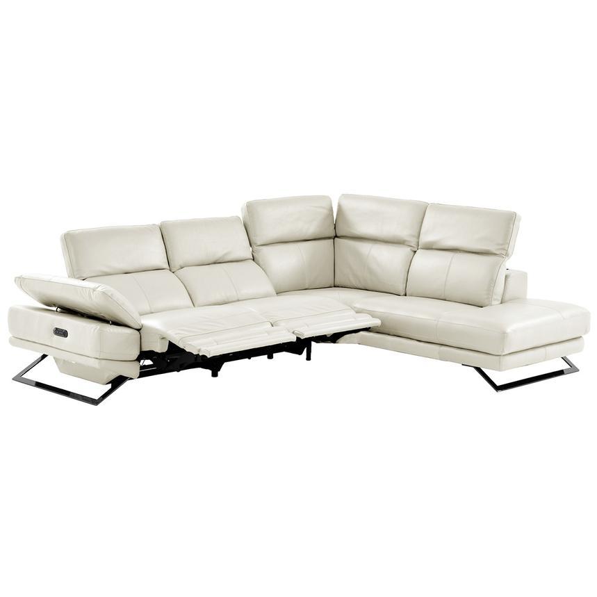 Toronto White Power Motion Leather Sofa W Right Chaise