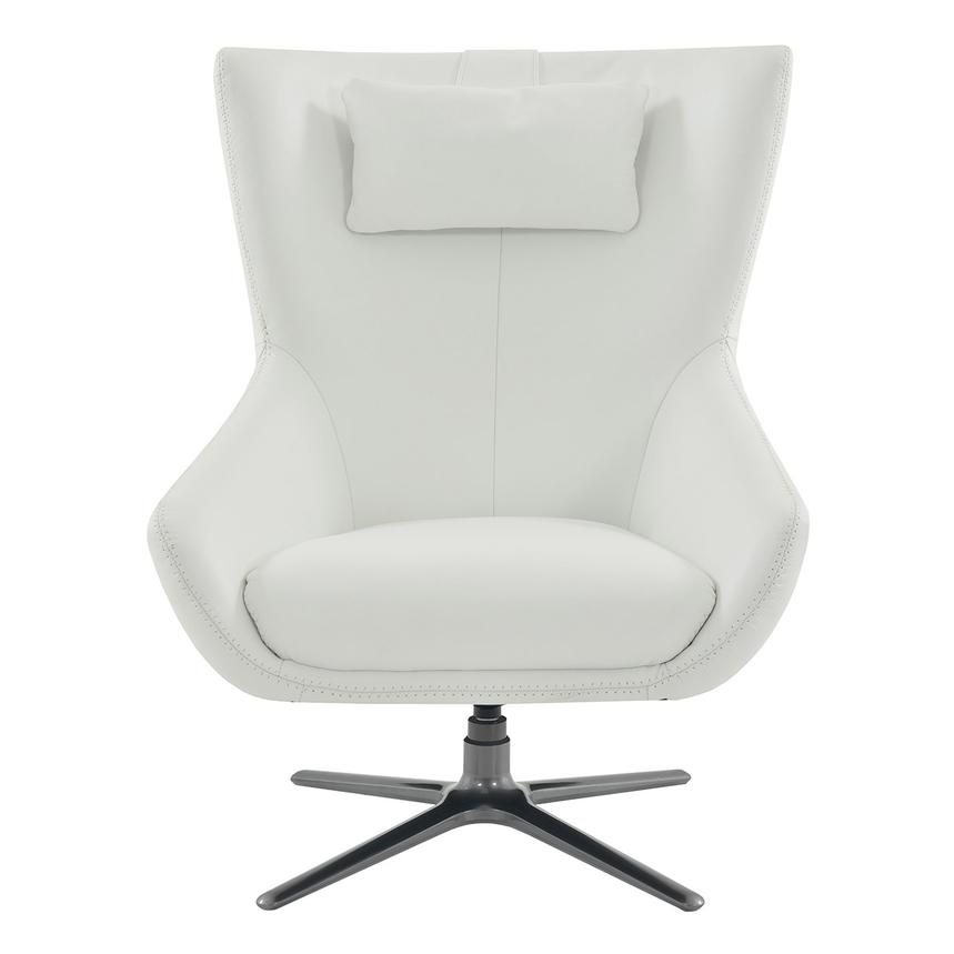 Clara White Leather Swivel Chair  main image, 1 of 5 images.