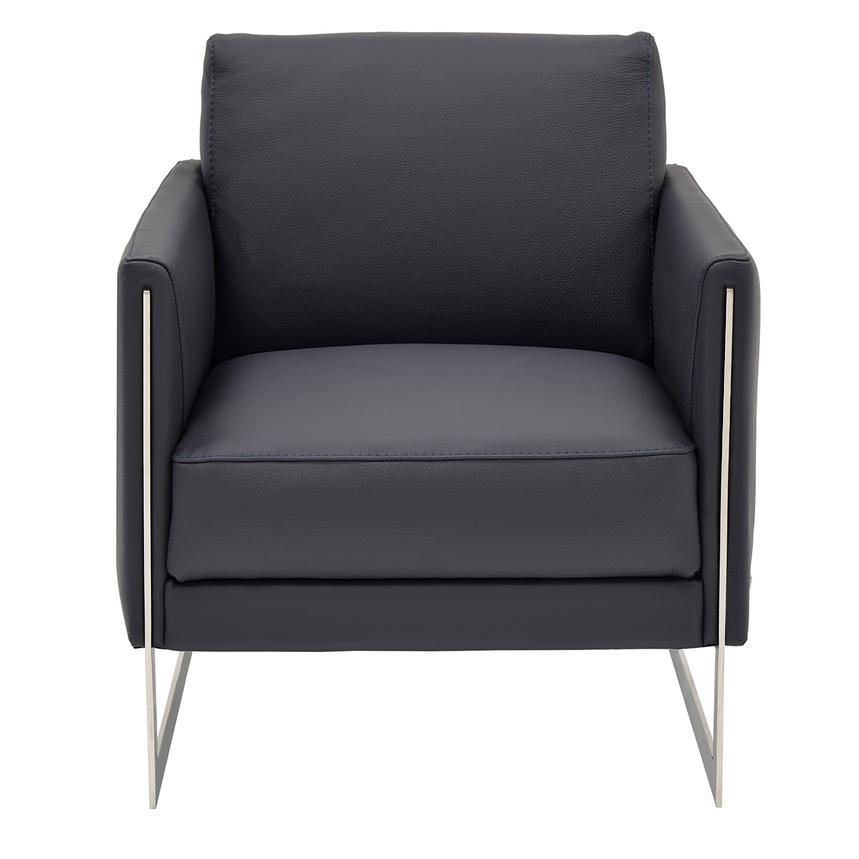Coco Blue Leather Accent Chair Main Image, 1 Of 5 Images.