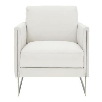 Coco White Leather Accent Chair
