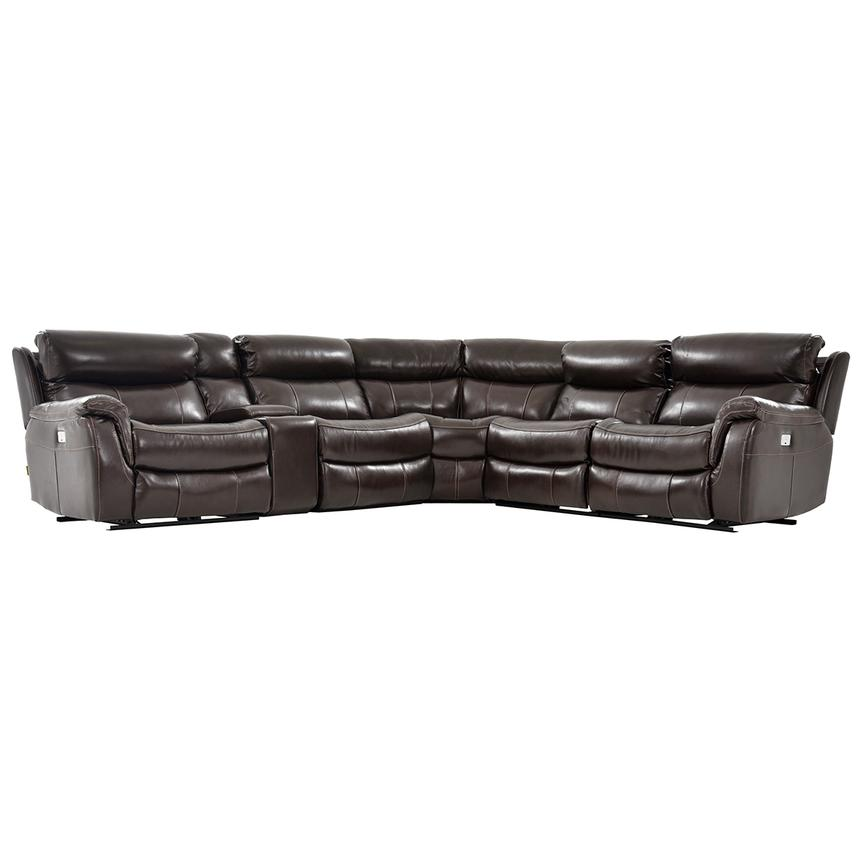 Jeremi Power Motion Leather Sofa w/Right & Left Recliners  main image, 1 of 8 images.