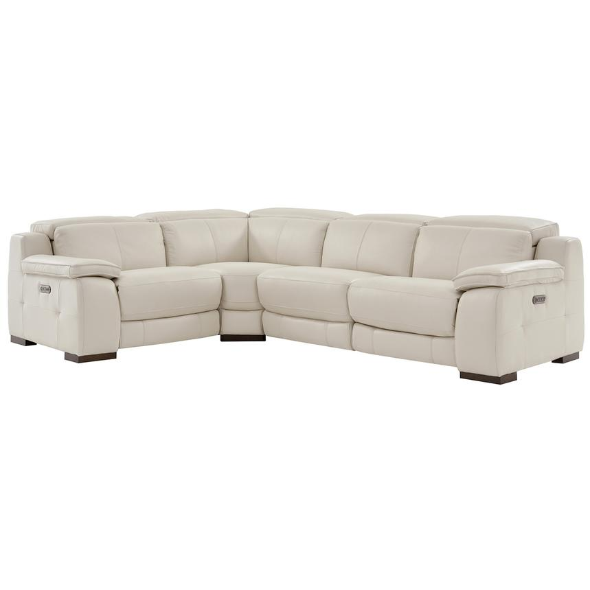 Gian Marco Cream Power Motion Leather Sofa w/Right & Left Recliners  main image, 1 of 6 images.
