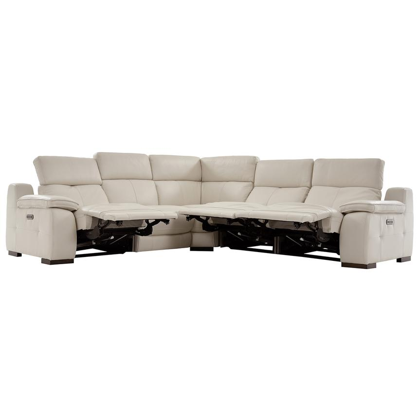 Gian Marco Cream Power Motion Leather Sofa w/Right & Left Recliners  alternate image, 2 of 6 images.