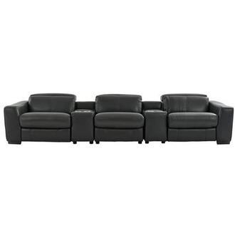 Jay Dark Gray Home Theater Leather Seating