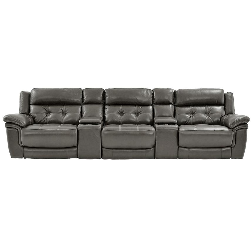 Stallion Gray Home Theater Leather Seating Main Image 1 Of 9 Images