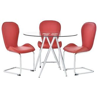 Latika Red 4-Piece Casual Dining Set