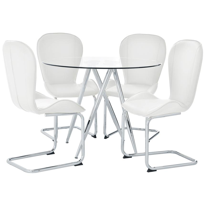 Latika White 5-Piece Casual Dining Set  main image, 1 of 11 images.