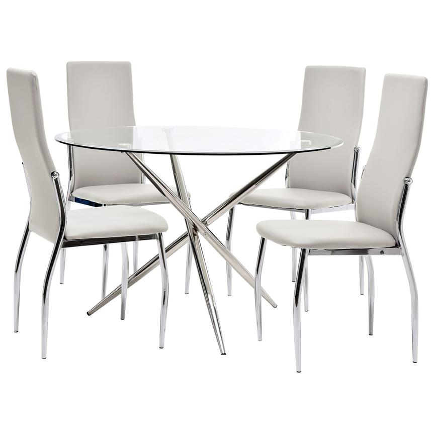Patricia/Luna White 5-Piece Casual Dining Set  main image, 1 of 8 images.