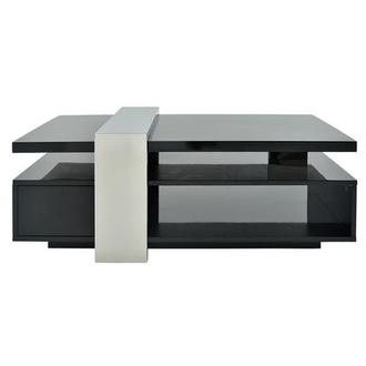Totem Black Coffee Table W Casters