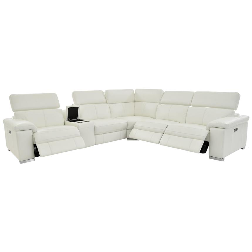 Charlie White Power Motion Leather Sofa w/Right & Left Recliners  alternate image, 2 of 9 images.