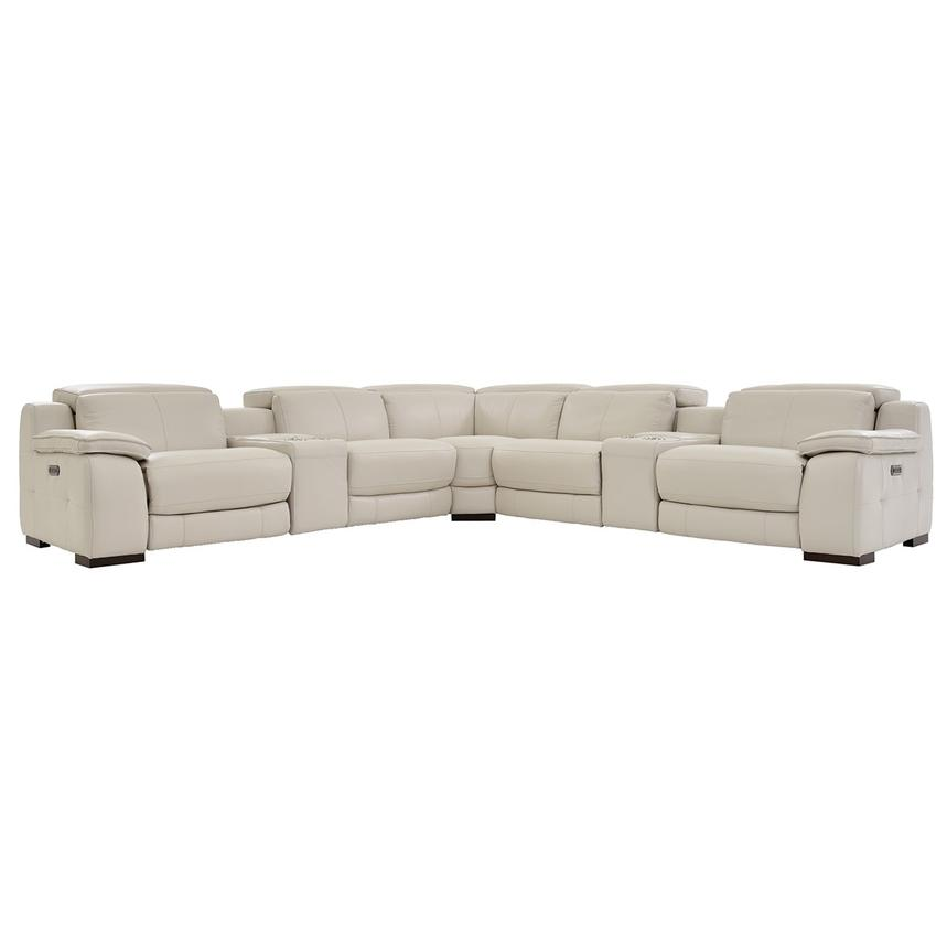 Gian Marco Cream Power Motion Leather Sofa w/Right & Left Recliners  main image, 1 of 7 images.