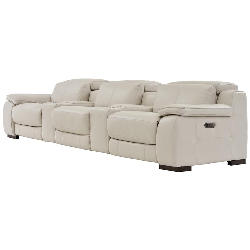 Gian Marco Cream Home Theater Leather Seating  alternate image, 2 of 8 images.