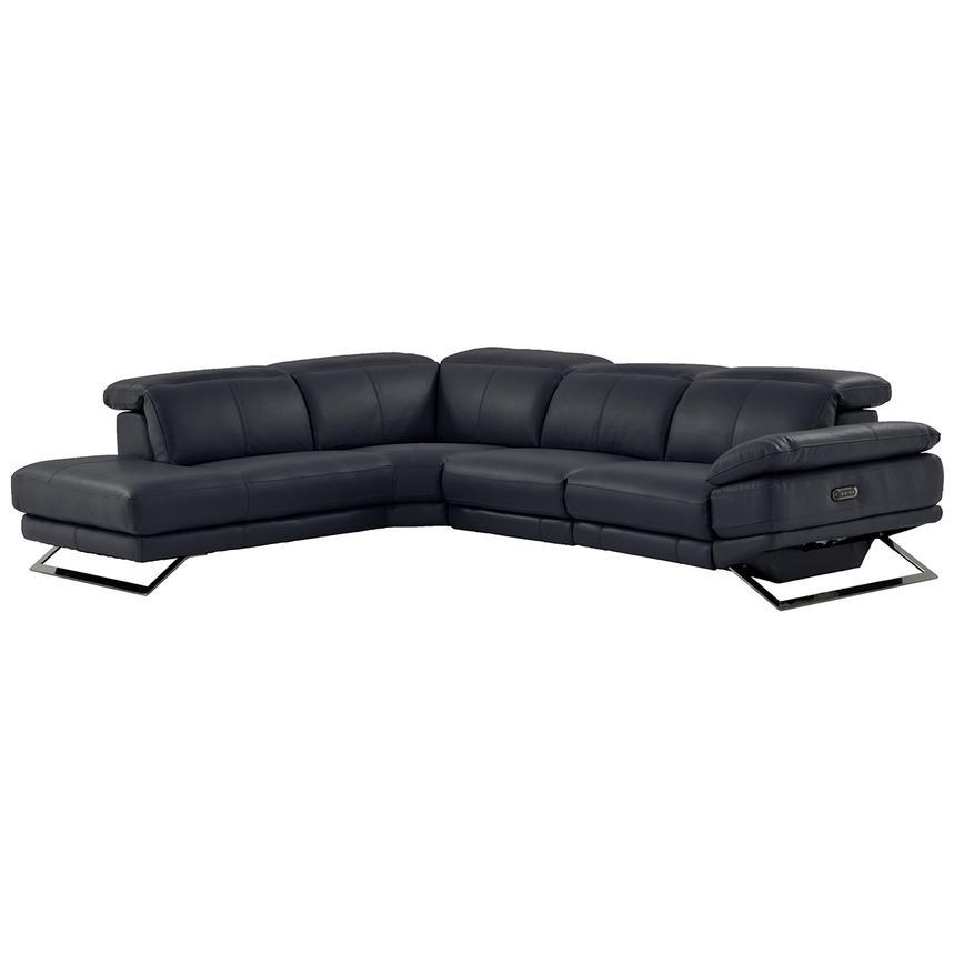 Toronto Dark Gray Power Motion Leather Sofa w/Left Chaise | El ...