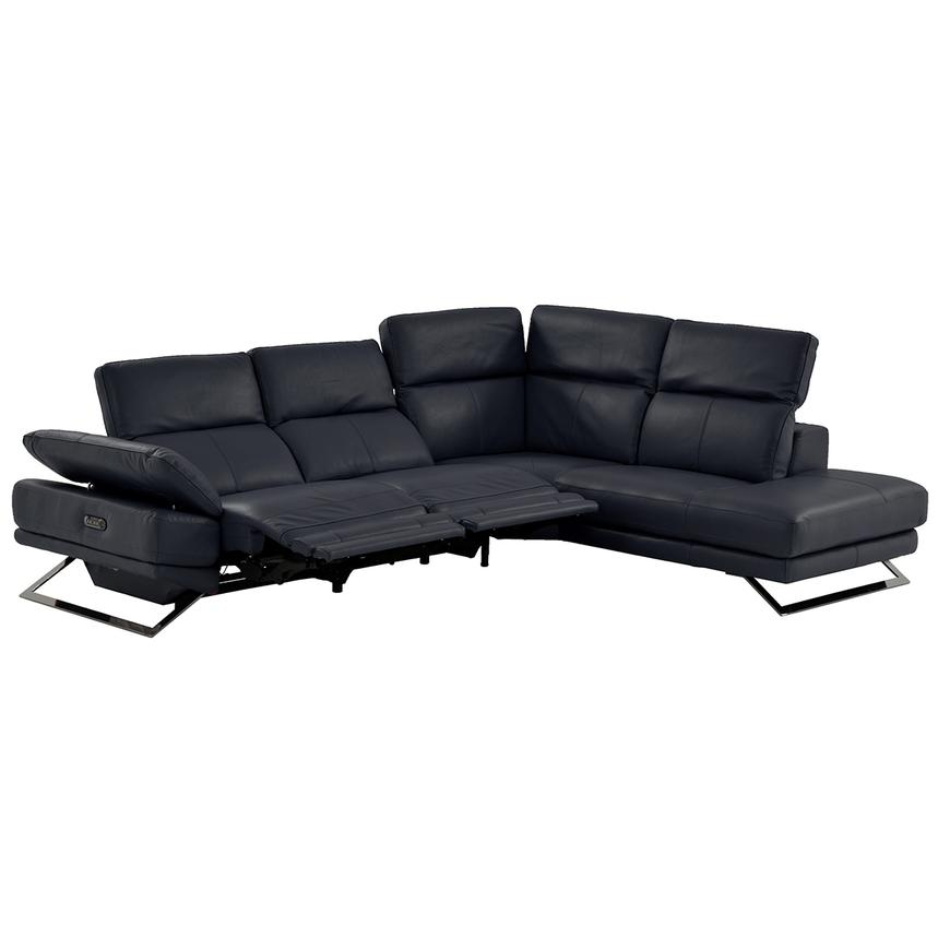 Toronto Dark Gray Power Motion Leather Sofa w/Right Chaise  alternate image, 2 of 9 images.
