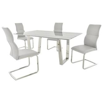 Alban/Colette White 5-Piece Formal Dining Set