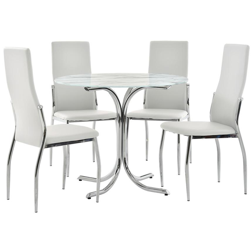 Dorothy/Luna White 5-Piece Casual Dining Set  main image, 1 of 11 images.