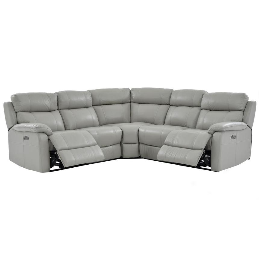 Ronald Gray Power Motion Leather Sofa w/Right & Left Recliners  alternate image, 2 of 6 images.
