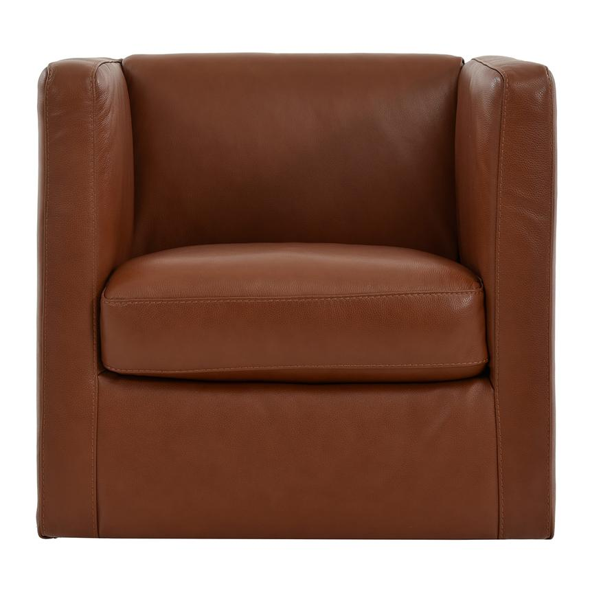Delightful Cute Brown Leather Swivel Chair