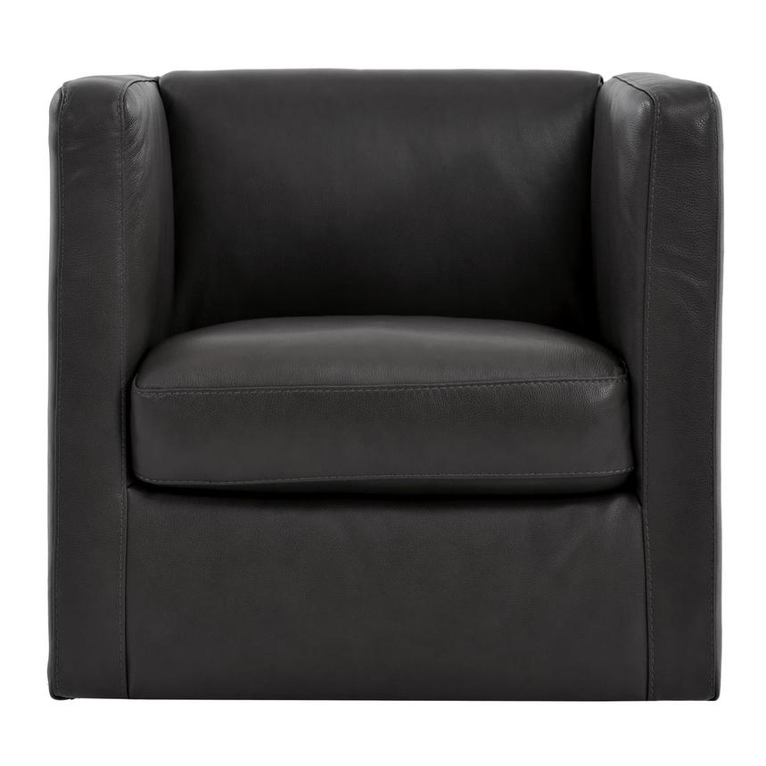Cute Dark Gray Leather Swivel Chair  main image, 1 of 6 images.