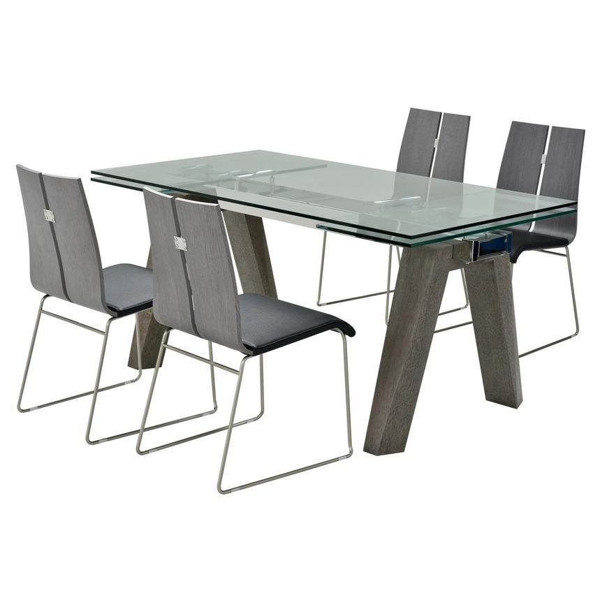 Valencia Gray/Black II 5-Piece Formal Dining Set  main image, 1 of 15 images.