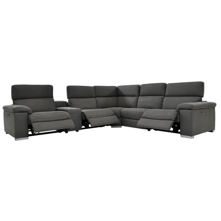Karly Dark Gray Power Motion Sofa w/Right & Left Recliners  alternate image, 2 of 8 images.