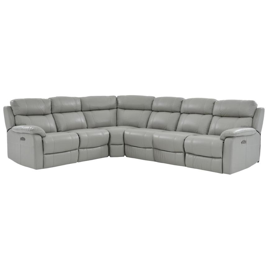 Ronald Gray Power Motion Leather Sofa w/Right & Left Recliners  main image, 1 of 5 images.