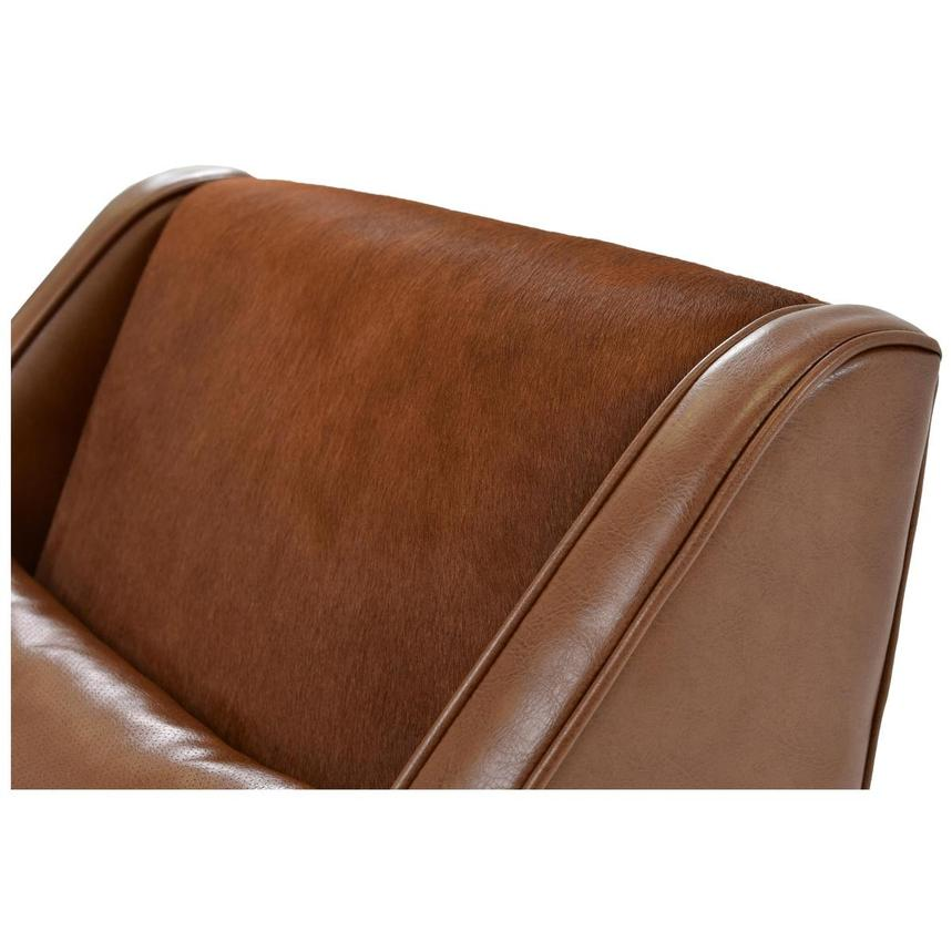 Krava Brown Leather Accent Chair w/Ottoman  alternate image, 6 of 9 images.
